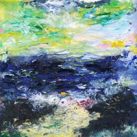 Emmanuel seascape painting in oil on canvas with 24ct gold leaf
