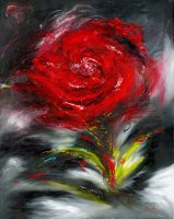 Romance flower painting of a rose in oil on canvas