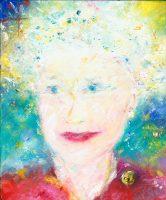 Queen Elizabeth II portrait painting in oil on canvas
