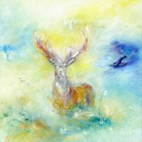 The Emperor painting of red stag on Exmoor in oil on canvas