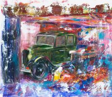 Hidden Treasure classic car painting in oil on canvas