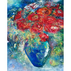 Kisses From Heaven a painting of bouquet of birthday roses flowers floral