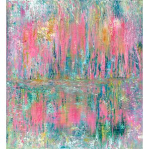 Pink Reflections - abstract art inspired by Monet and his garden at Giverny