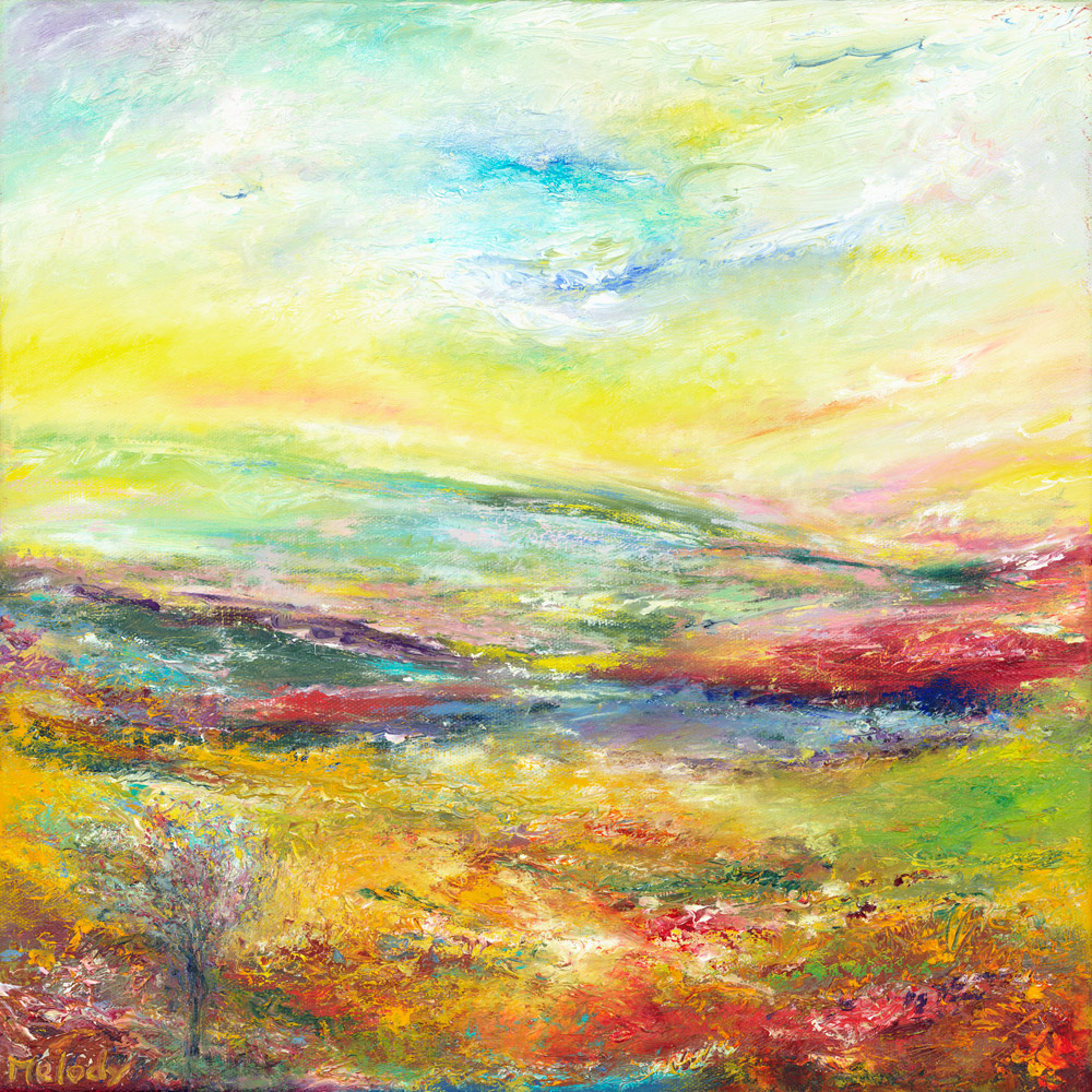 Together In February On Exmoor colourful landscape painting in oil on canvas of Exmoor from her hear