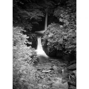 Watersmeet upper waterfall B&W landscape photo