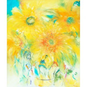 Welcome - original oil painting of yellow sunflowers