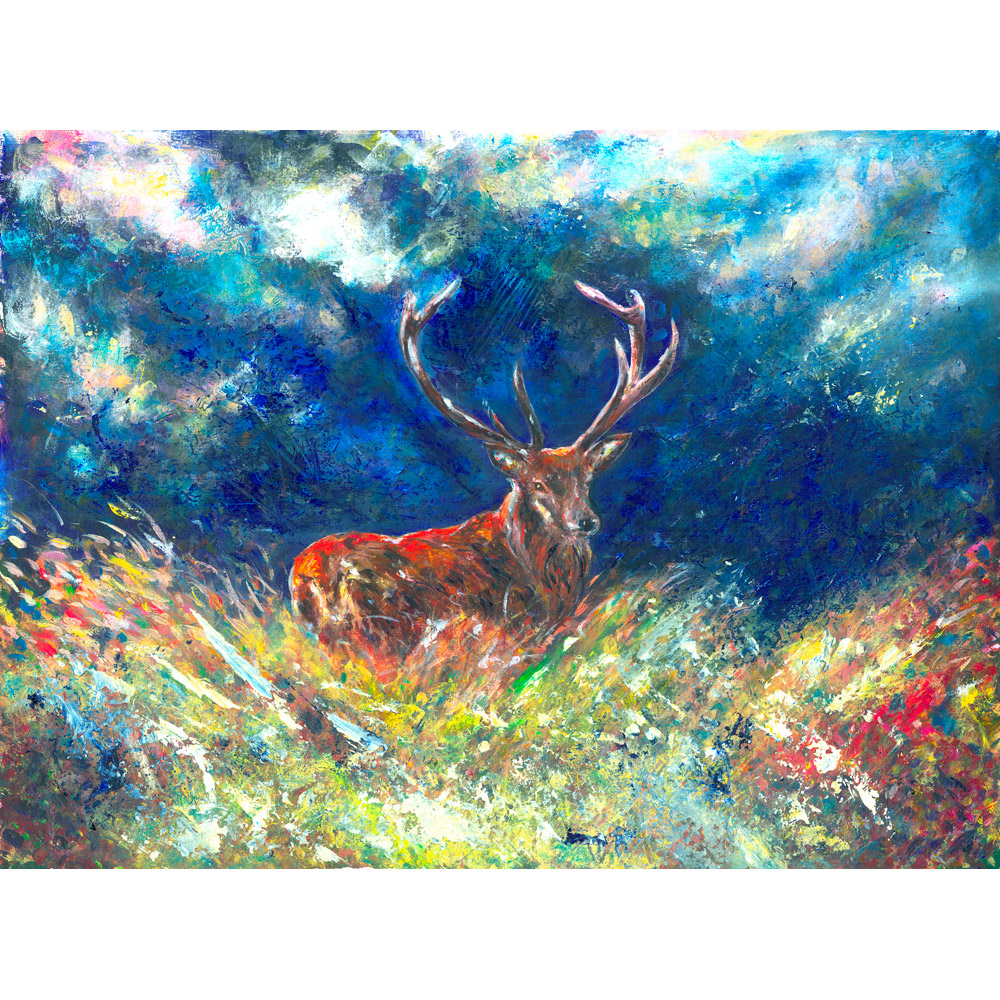 A Fathers Love - Painting of Red Stag on Exmoor antlers rutting deer