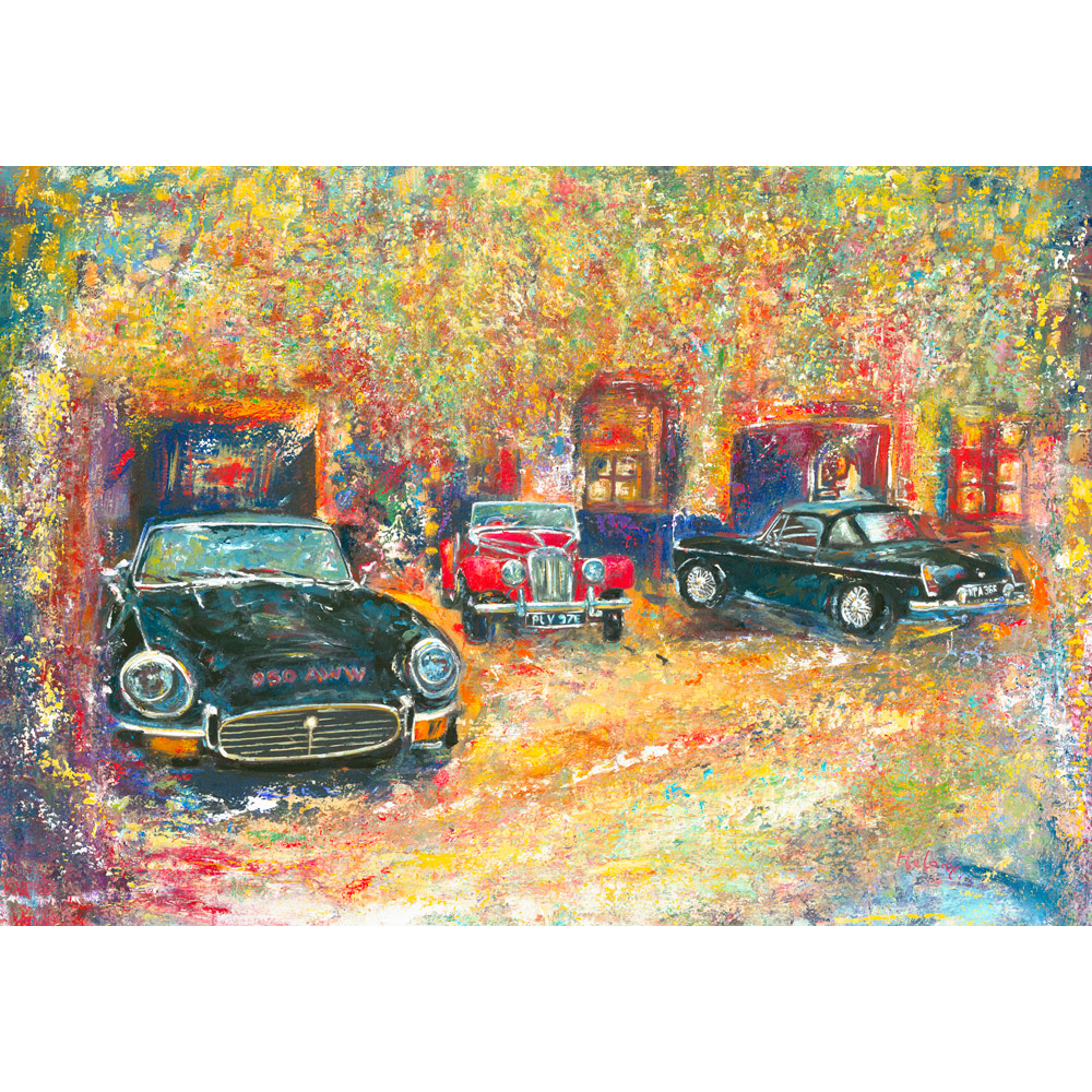 Friends classic car painting e-type mg