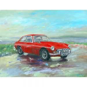 MGB GT At Porlock Weir classic car painting