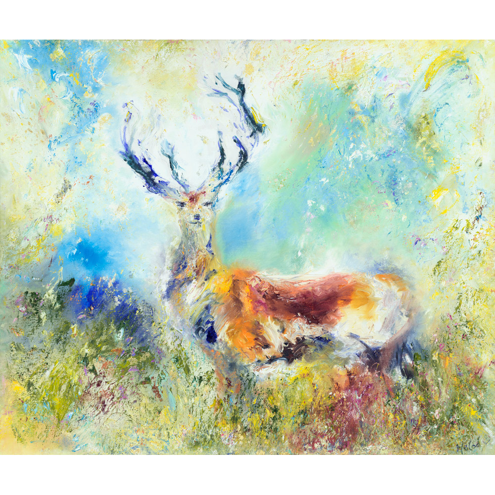 Majesty painting of Red Stag on Exmoor antlers rutting deer