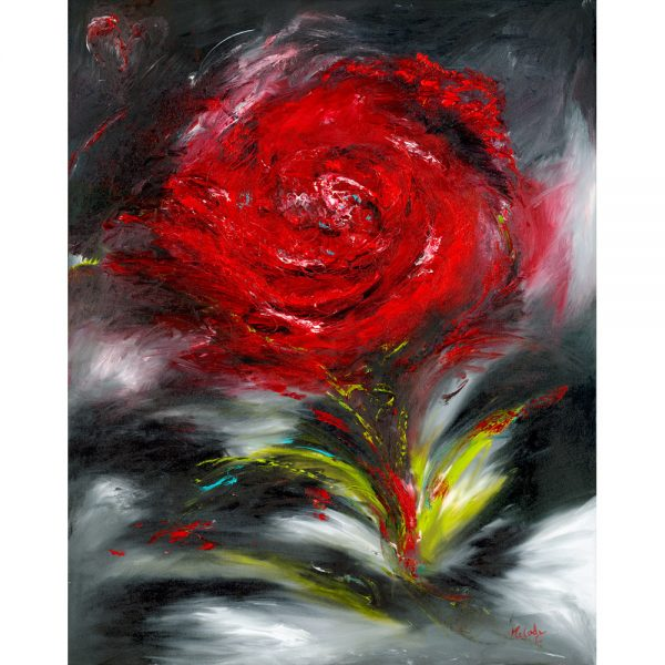 Romance painting of a single red rose