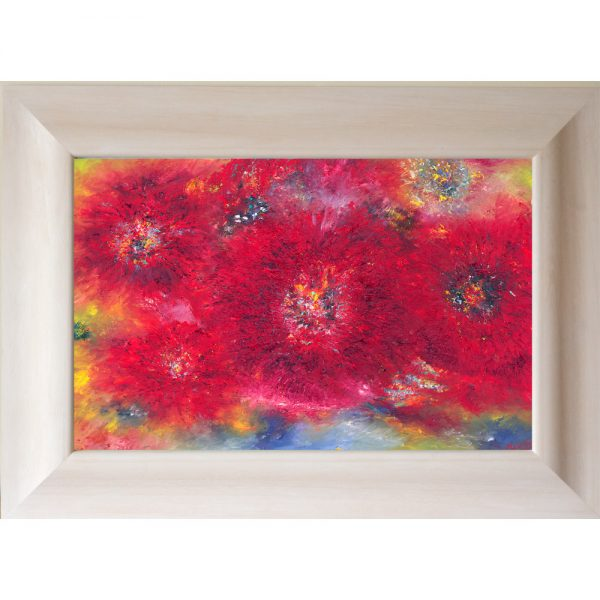 Let There Be Flowers - Original Oil Painting framed limed white scoop