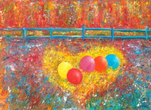 Balloons For A Monday - fun painting in oil on canvas