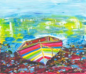 Be My Light - fun painting of clinker built boat in oil on canvas