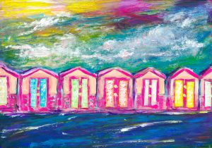 Beach Huts - Fun painting of the beach huts on Brighton seafront