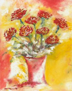 Because I Love You - red roses in vase painting in oil on canvas