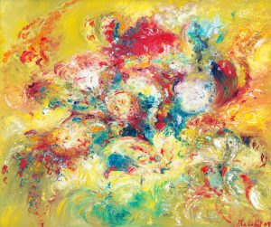 Birthday Bouquet - painting of vibrant bouquet of flowers in oil on canvas