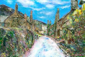 Bossington Village Exmoor - landscape painting on paper