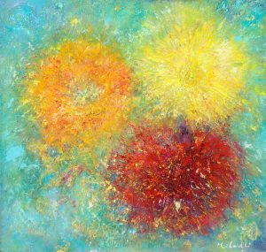 Bright Morning Star - painting of vibrant flowers in oil on canvas