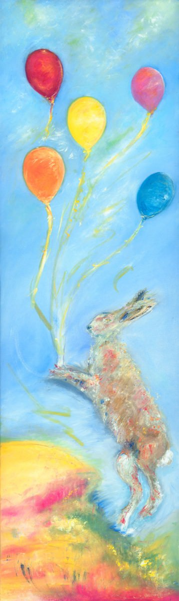 Can I Fly Too - fun painting of hare with balloons
