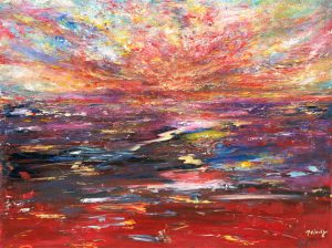 Christmas Skies - sunset painting in oil on canvas