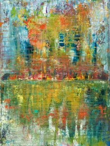 City Lights - abstract painting in oil on canvas