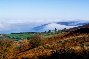 Fog on Exmoor filling The Bristol Channel