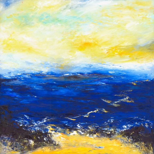 Crossing the Channel with Angels - seascape painting in oil on canvas