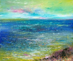 Enjoying whatever the weather - seascape painting in oil on canvas