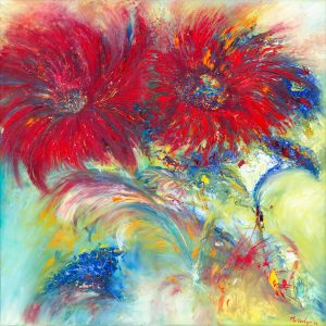 Flower For You - painting of vibrant flowers in oil on canvas