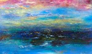 Glory Forever and Ever - seascape painting in oil on canvas with 24ct gold leaf