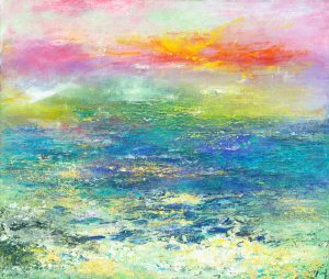 Gold on the Horizon - seascape painting in oil on canvas with 24ct gold leaf