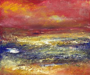 Good Times Ahead - Exmoor sunset and seascape painting in oil on canvas
