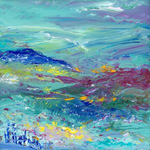 Honey Blue Landscape - Exmoor landscape painting in oil on canvas