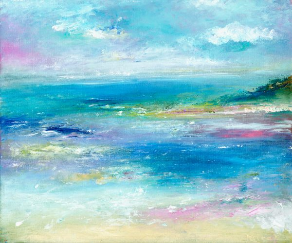 Hurlstone seascape painting in oil on canvas of Hurlstone Point Exmoor