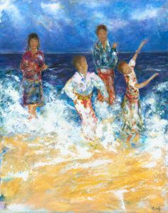 Is This Heaven - Original figurative painting of African School Choir in Minehead painted in acrylic on canvas