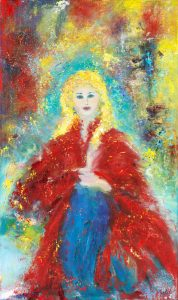 Madona In Red - portrait painting in oil on canvas