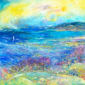 North Hill Through The Cow Field seascape painting in oil on canvas