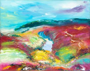 Nutscale Water on Exmoor - landscape painting in oil on canvas