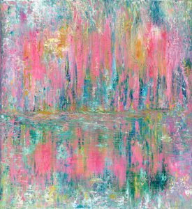 Pink Reflections - abstract painting in oil on canvas