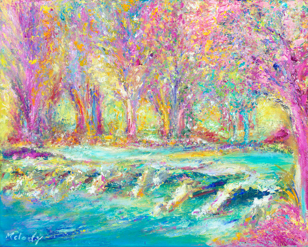 Pink Tarr Steps - landscape painting in oil on canvas