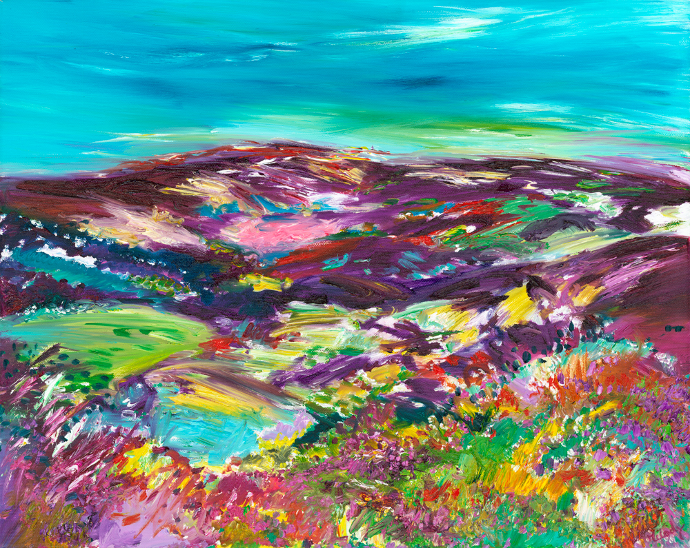 Purple Headed Mountain - landscape painting in oil on canvas