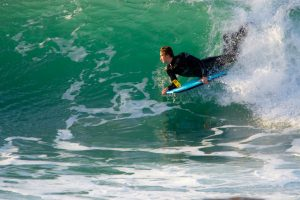 Bodyboarder at Portreath in Cornwall