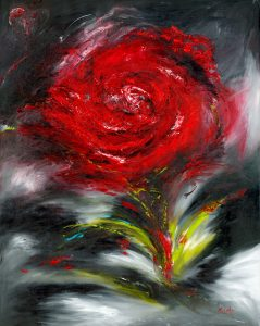 Romance - floral of a rose in oil on canvas