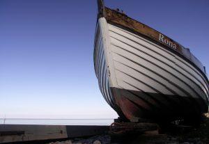 Rhona - clinker built boat at Minehead
