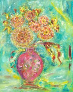 Seeds Of Light - floral painting in oil on canvas