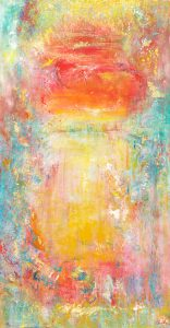 Stairway To Heaven - abstract art in oil on canvas with 24ct gold leaf