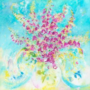 The Gift - floral painting of foxgloves in oil on canvas