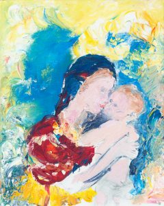 The Kiss - Original figurative painting in oil on canvas