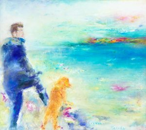 Today - Sam & Poppy - Original figurative painting in oil on canvas